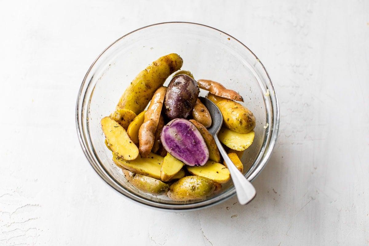 A bowl of fingerling potatoes