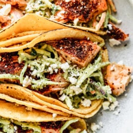 Healthy salmon tacos with slaw