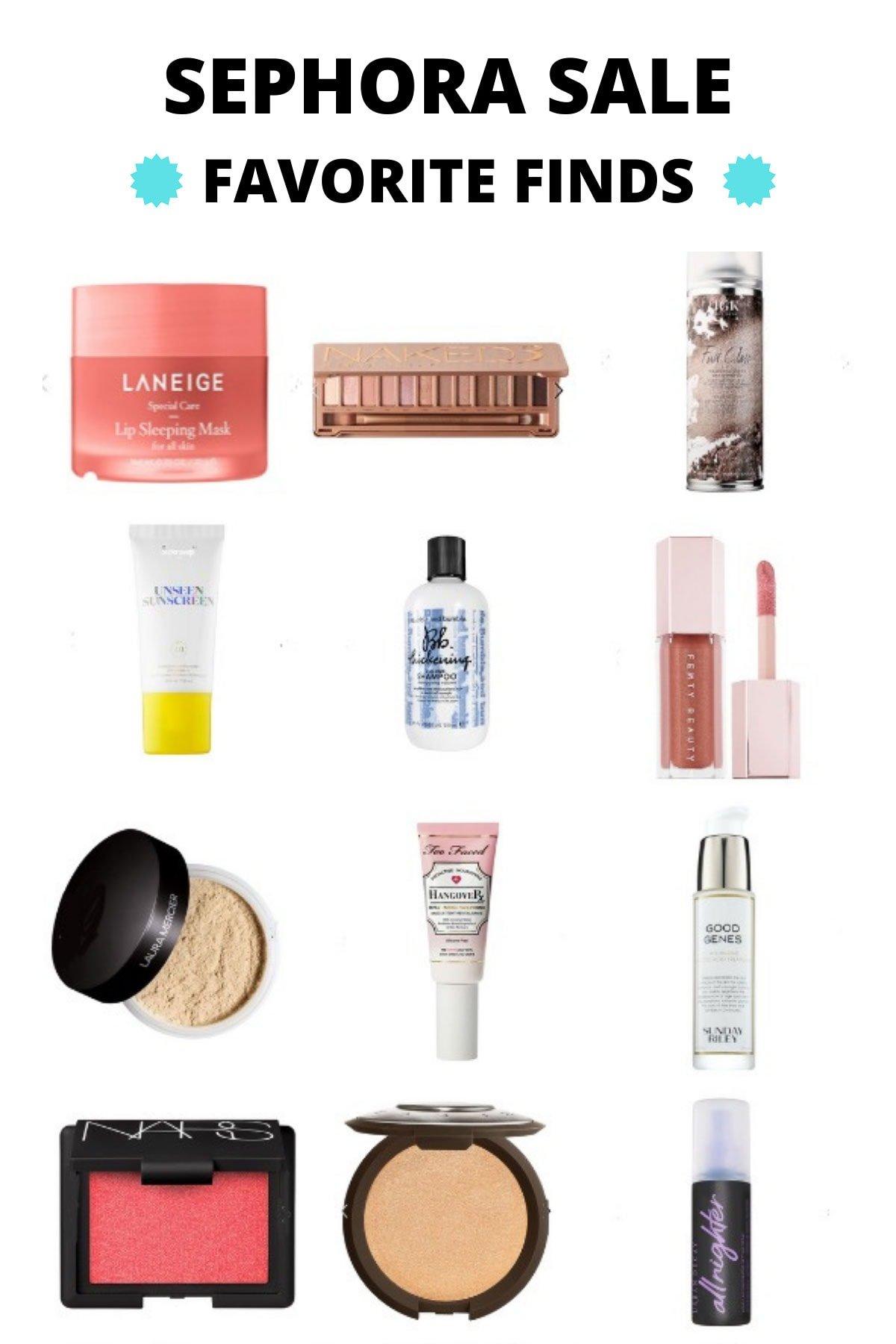 Un collage de objetos de Sephora