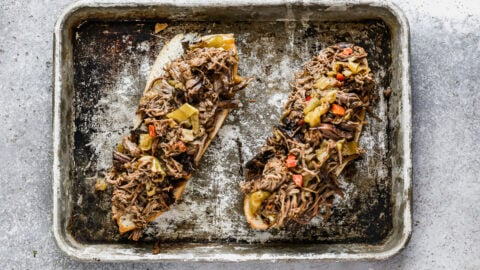 Italian beef on two pieces of bread