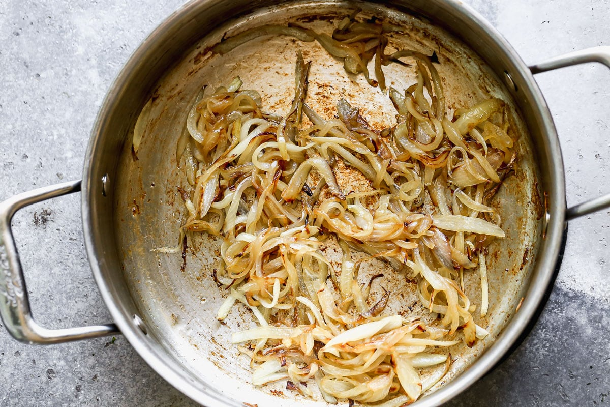 Caramelized onions in a pan