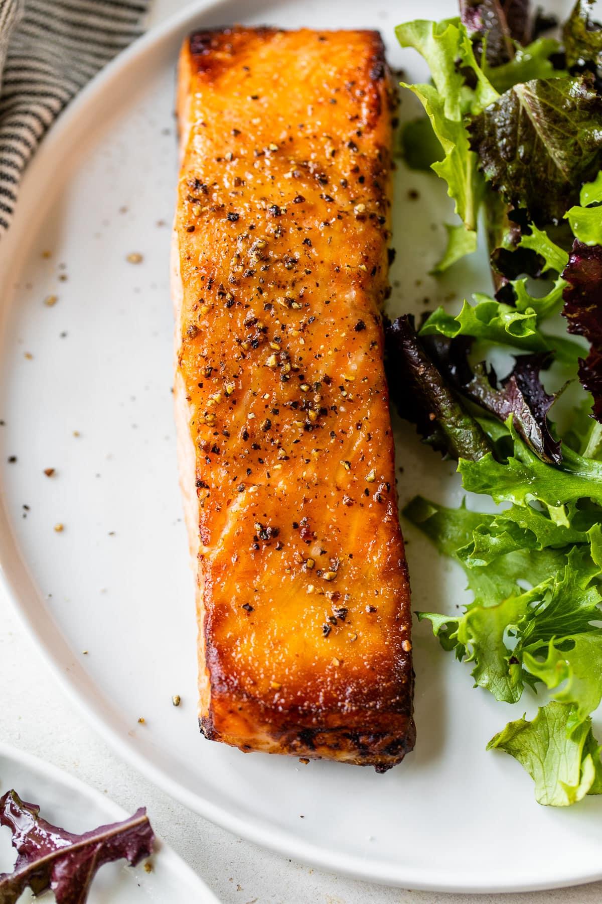 Honey garlic air fryer salmon on a plate