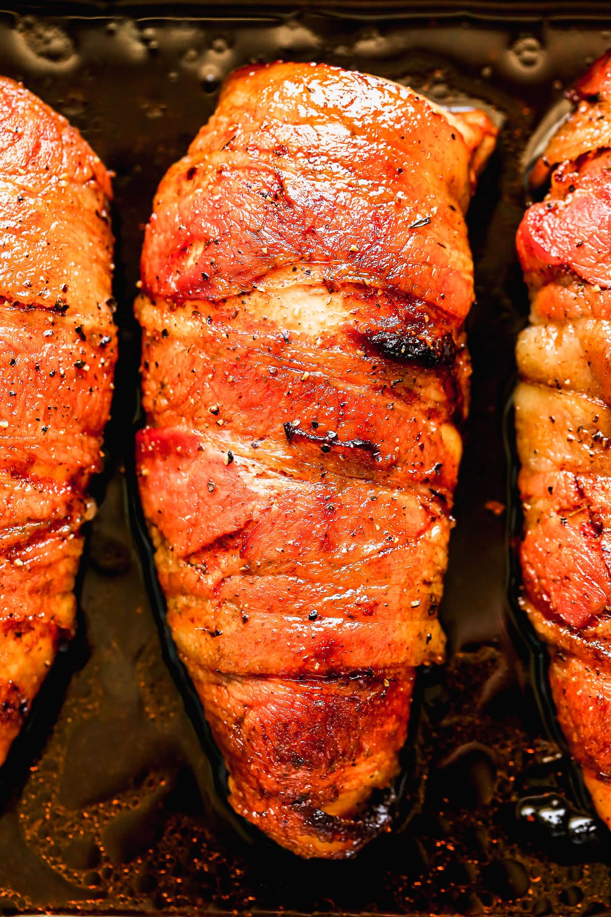 Delicious bacon wrapped chicken breast