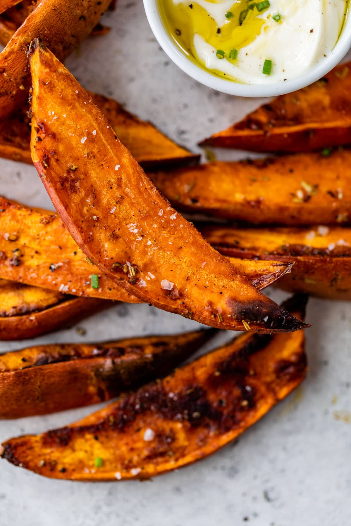 Sweet potato wedges with seasoning