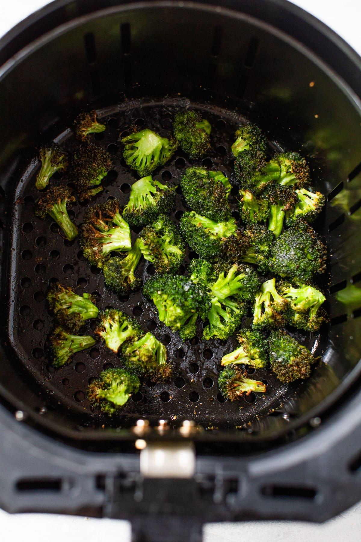 air fried broccoli in an air fryer