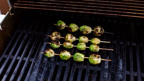 Brussels sprouts being grilled