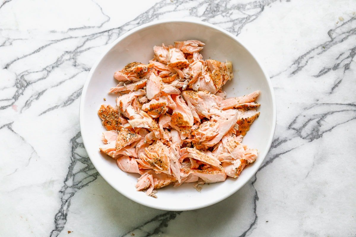 Salmon pieces on a plate