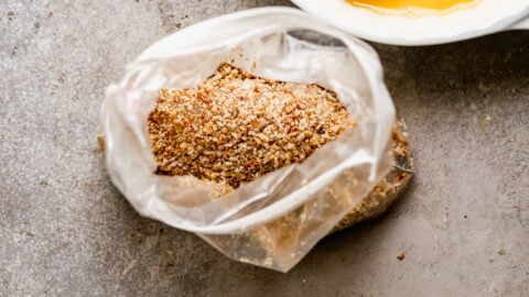A bag with crushed nuts