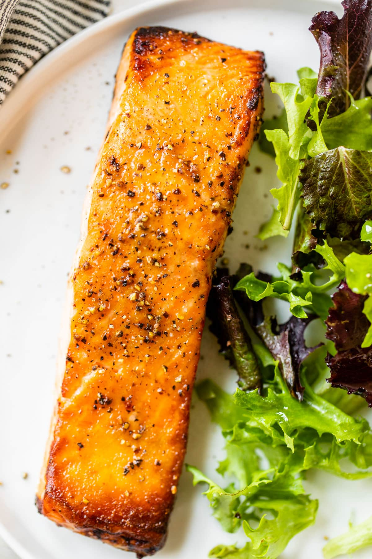 Easy air fryer salmon on a plate