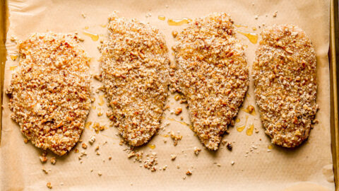 Four honey pecan crusted chicken breasts
