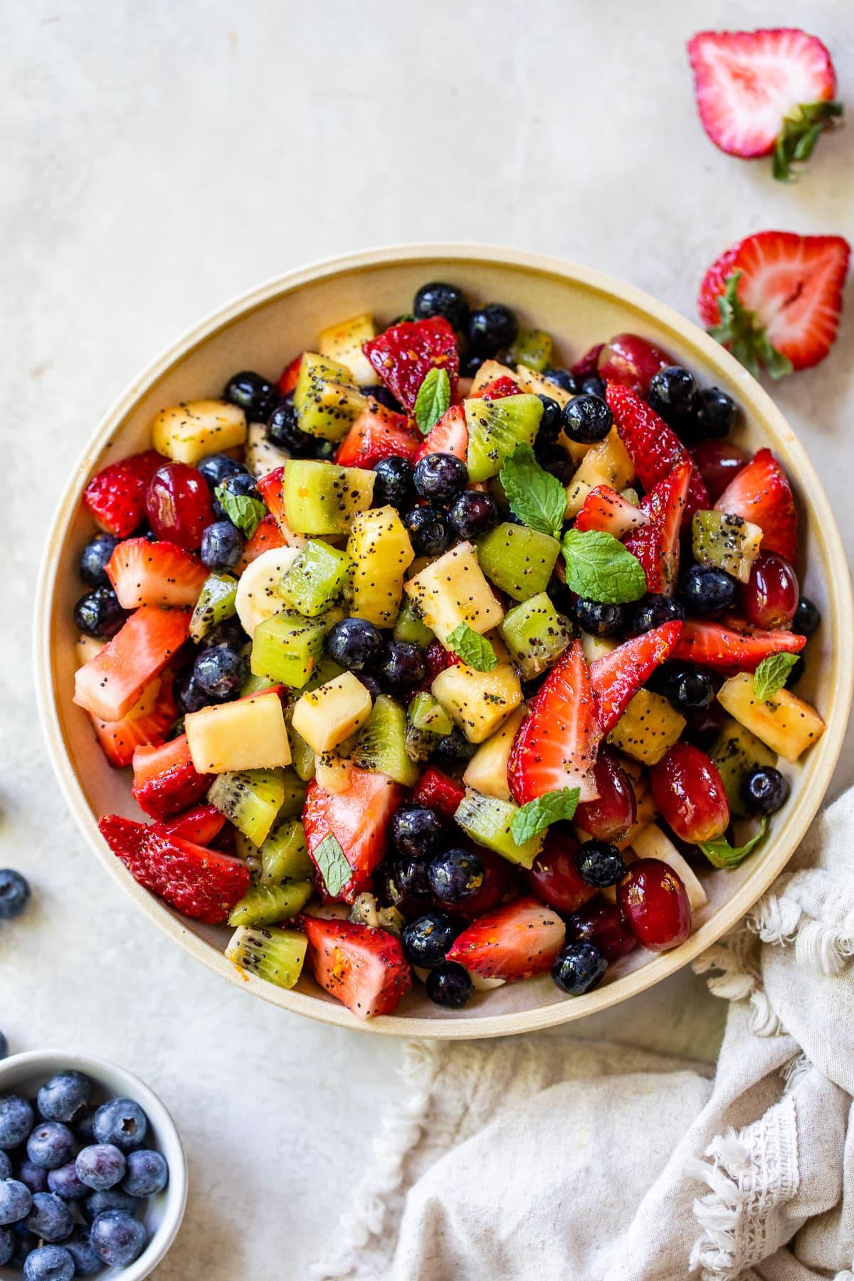 healthy mixed fruit salad bowl