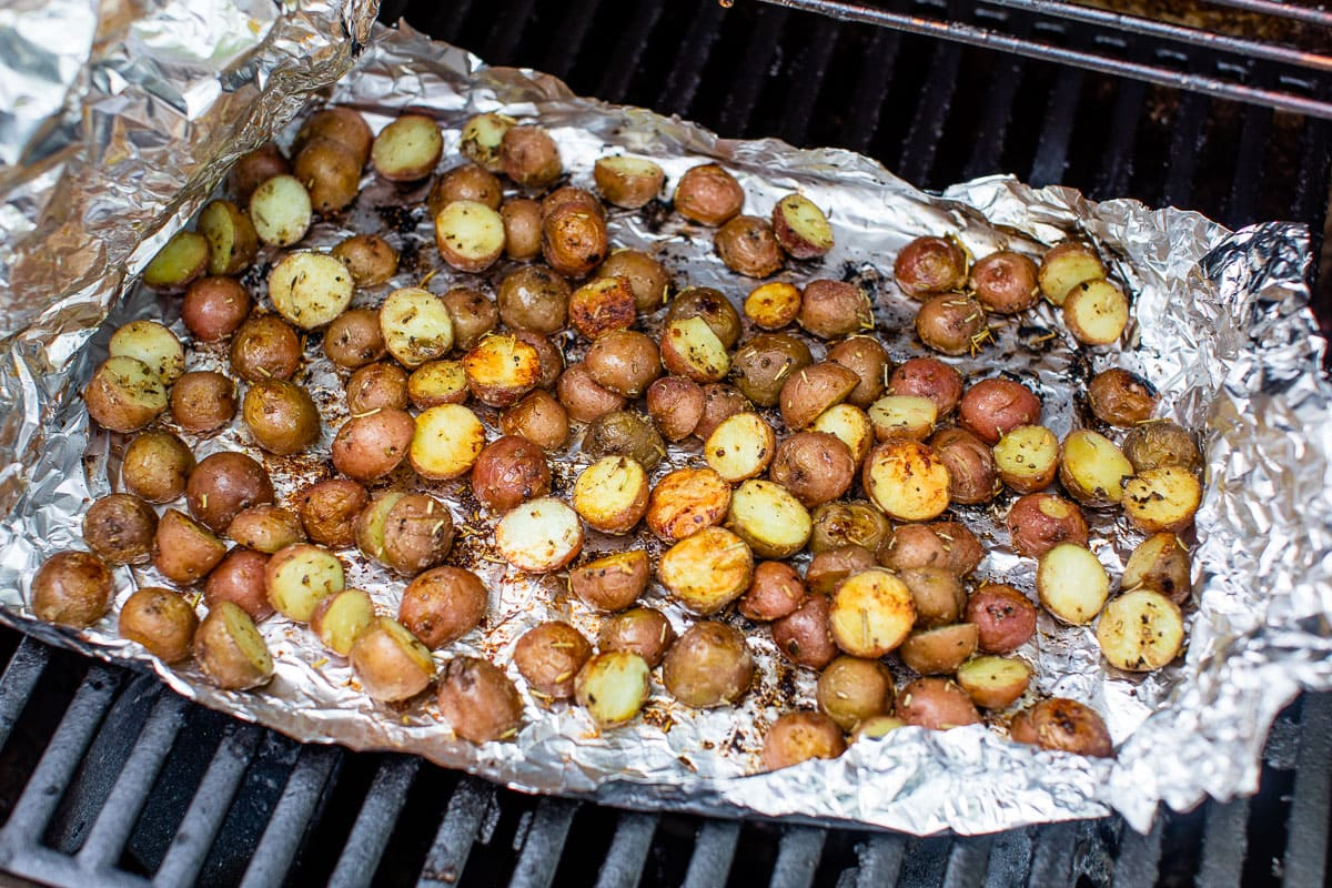 crispy roasted potatoes on the grill