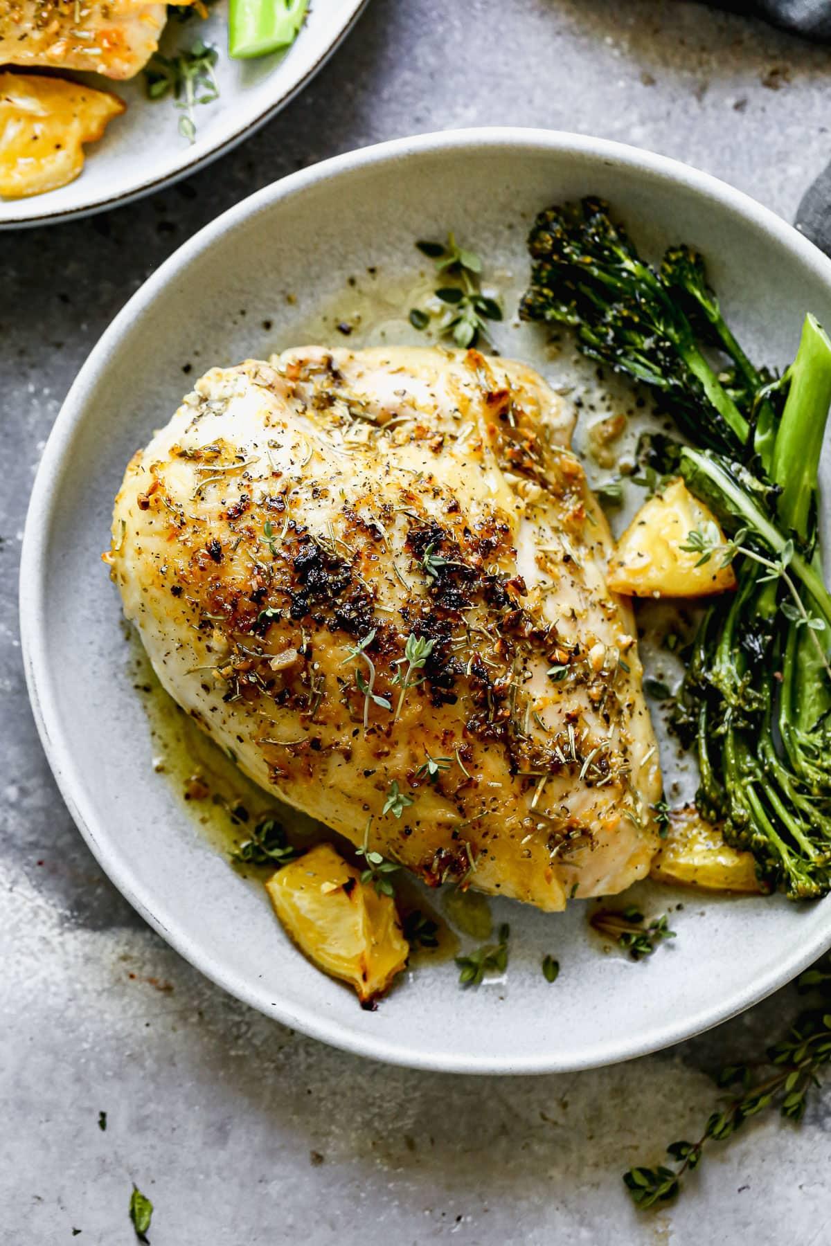 A healthy baked bone in chicken breast