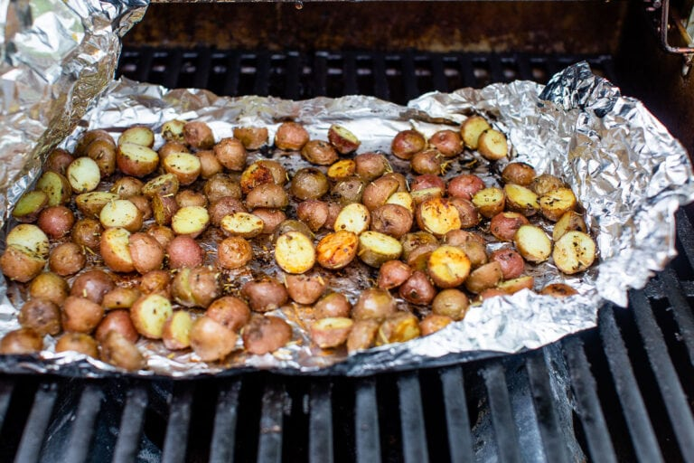 roasted potatoes on the grill