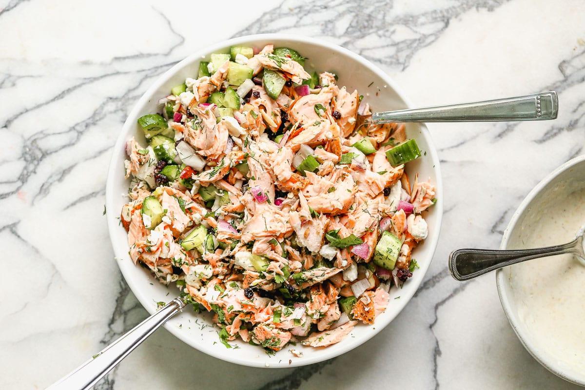 Scrumptious salmon salad in a bowl