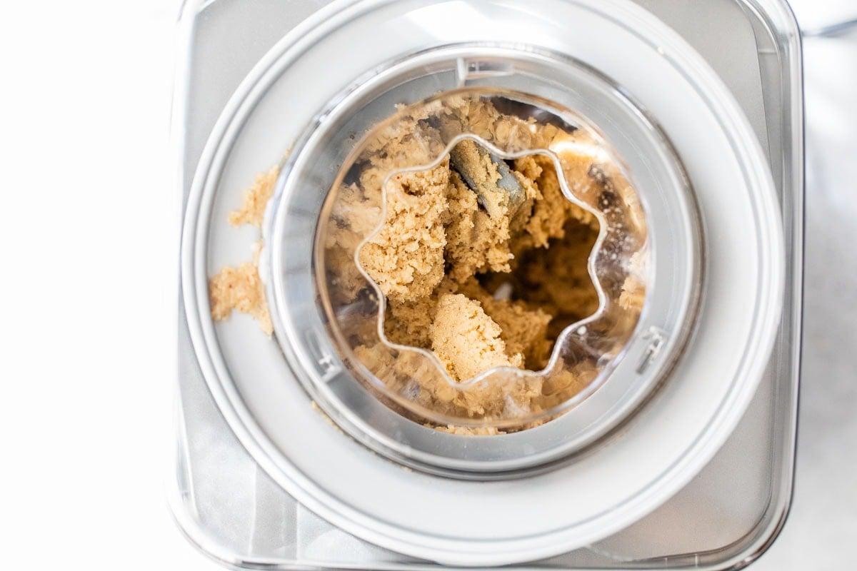 oat milk ice cream batter in a machine