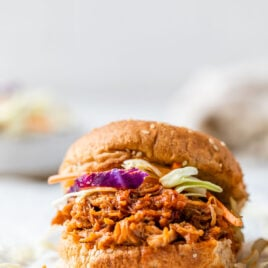 A sandwich with Instant Pot pulled pork