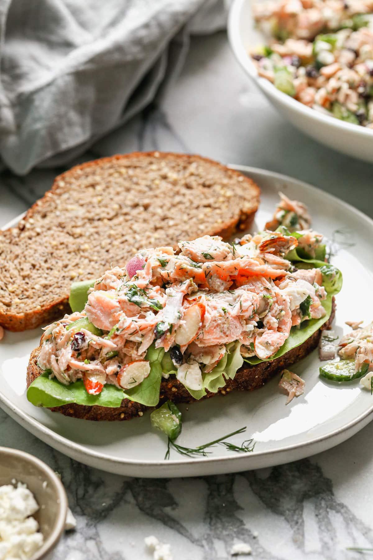 a salmon salad sandwich