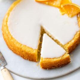 slice of healthy orange polenta cake