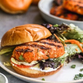 southern shrimp burger with toppings