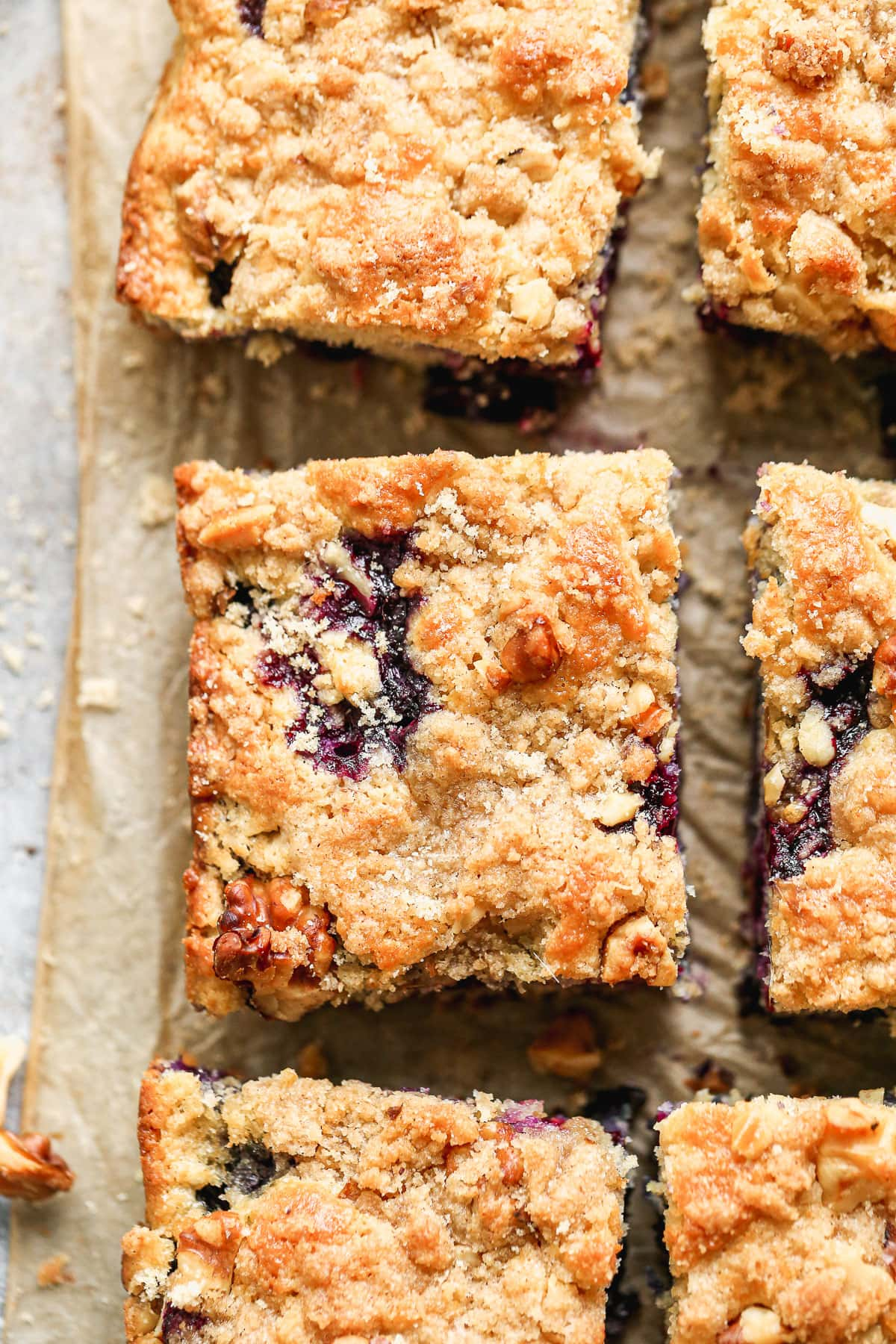 blueberry buckle with walnuts and crumb topping