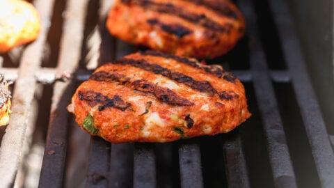 cajun shrimp burger on the grill
