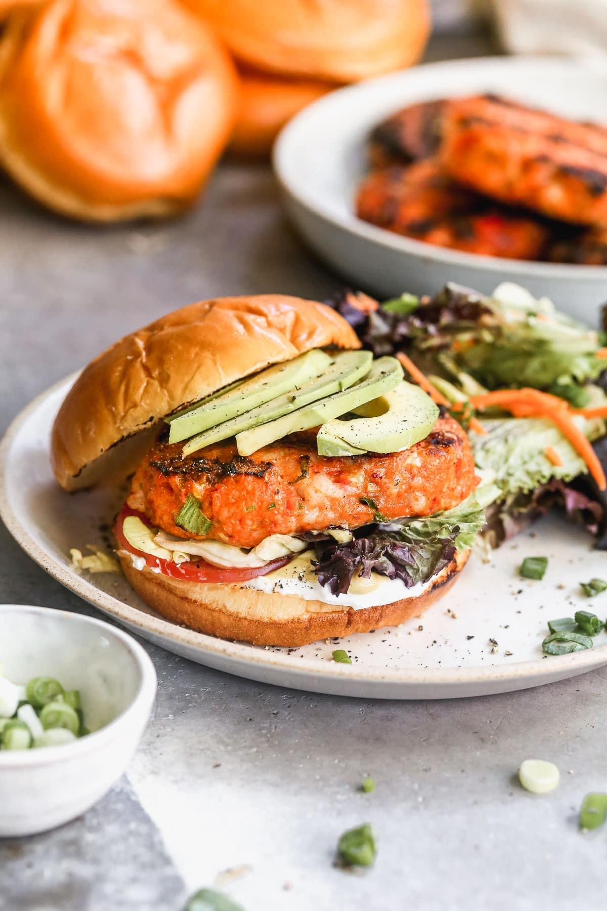 spicy shrimp burger with avocado
