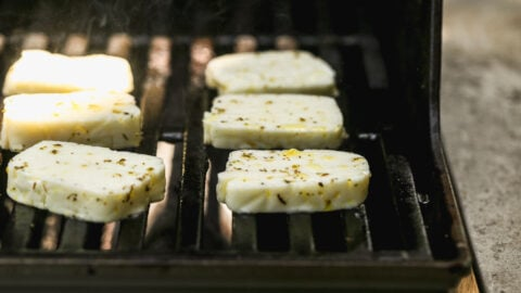 halloumi cheese with marinade on the grill