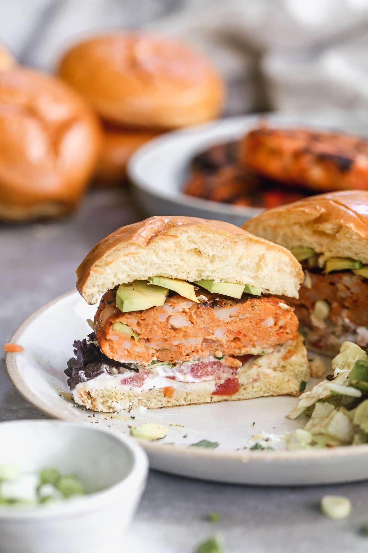 cajun shrimp burger on a bun