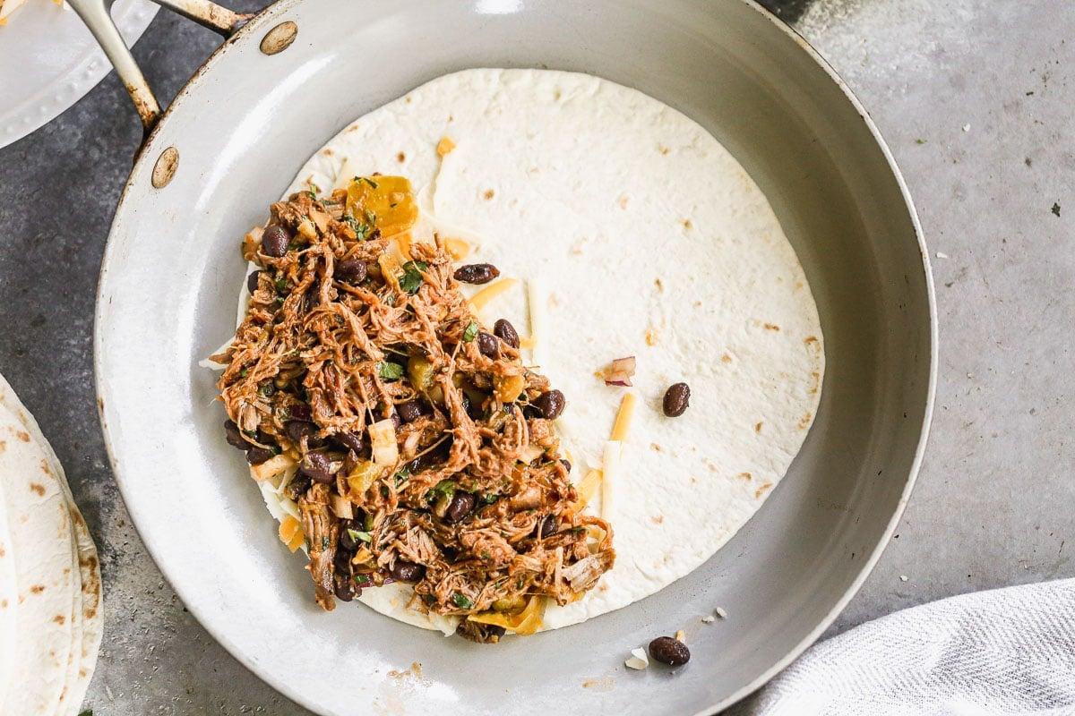 spread quesadillas with leftover pork
