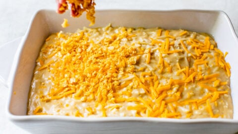 Sprinkle corn flakes on hash brown casserole