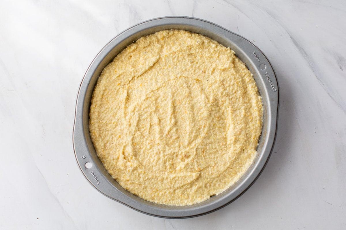 orange polenta cake batter for baking