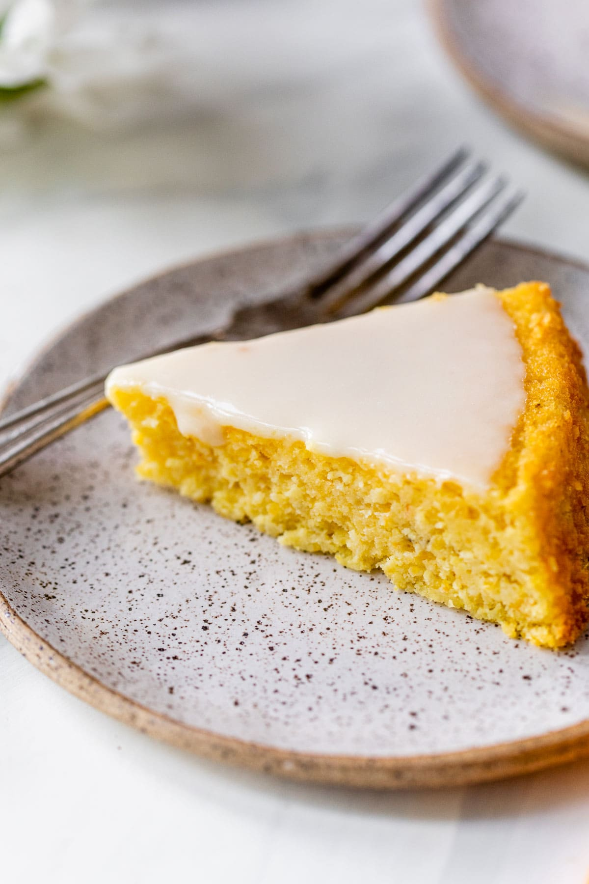 orange polenta cake on a plate