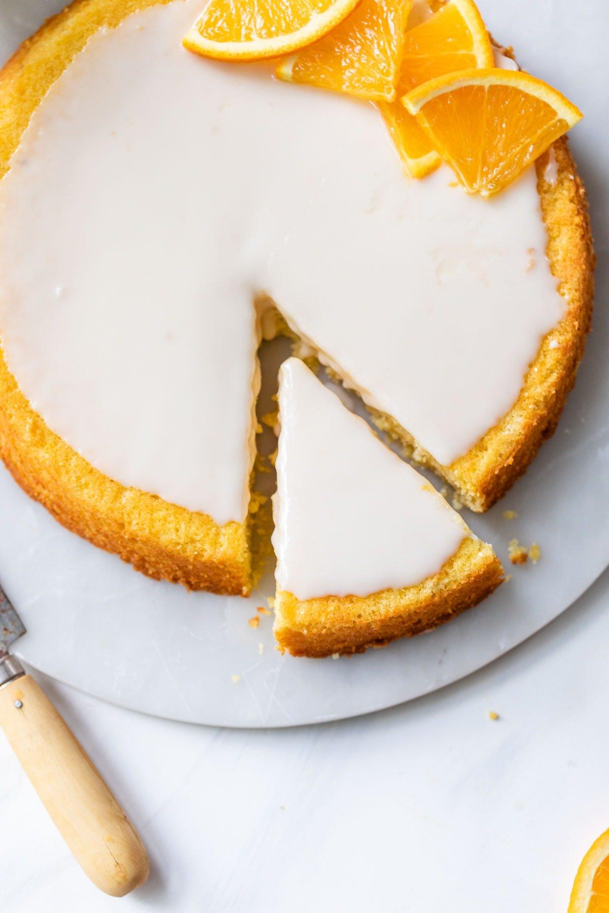 Italian orange polenta cake slice