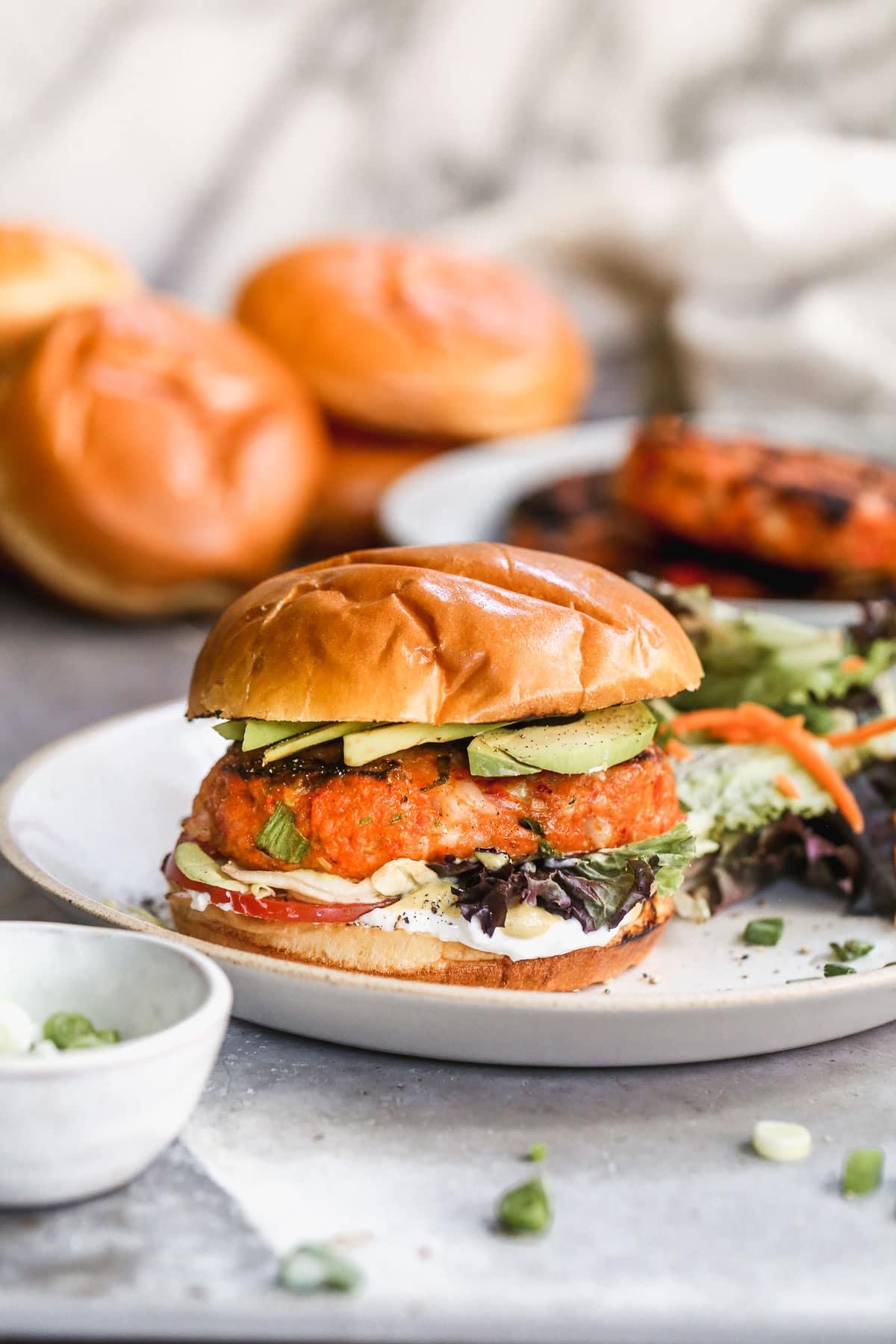 Southern shrimp burger on a plate