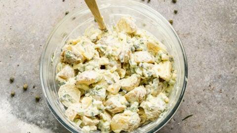 super simple potato salad in a bowl