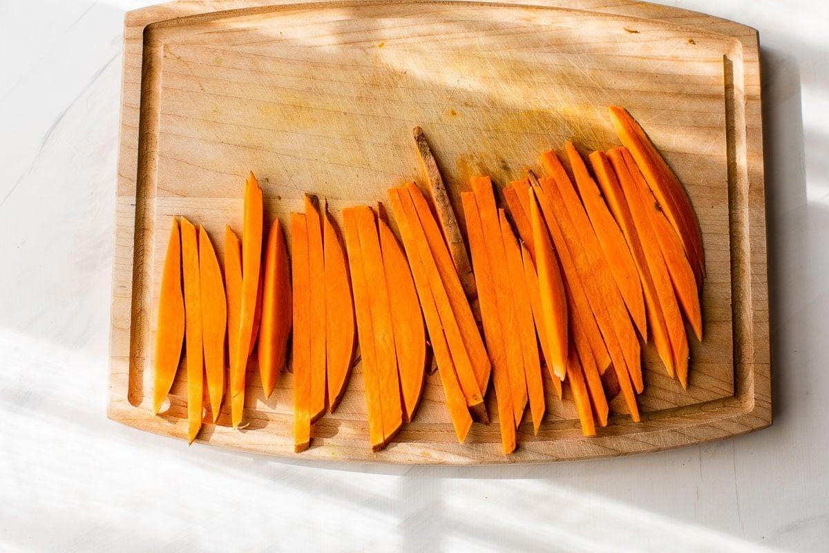 sweet potato sticks sliced for air fryer