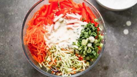 low fat coleslaw recipe ingredients in a bowl