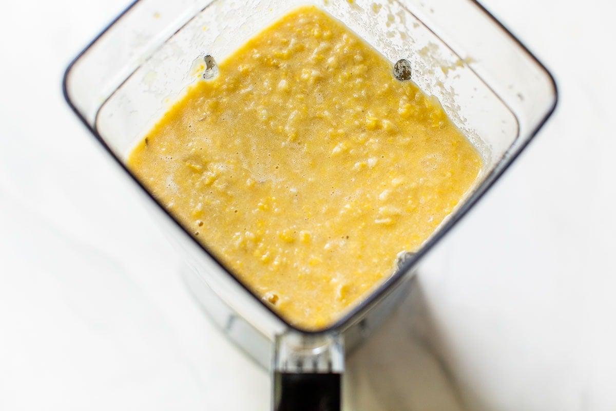 healthy corn chicken chowder made in a blender