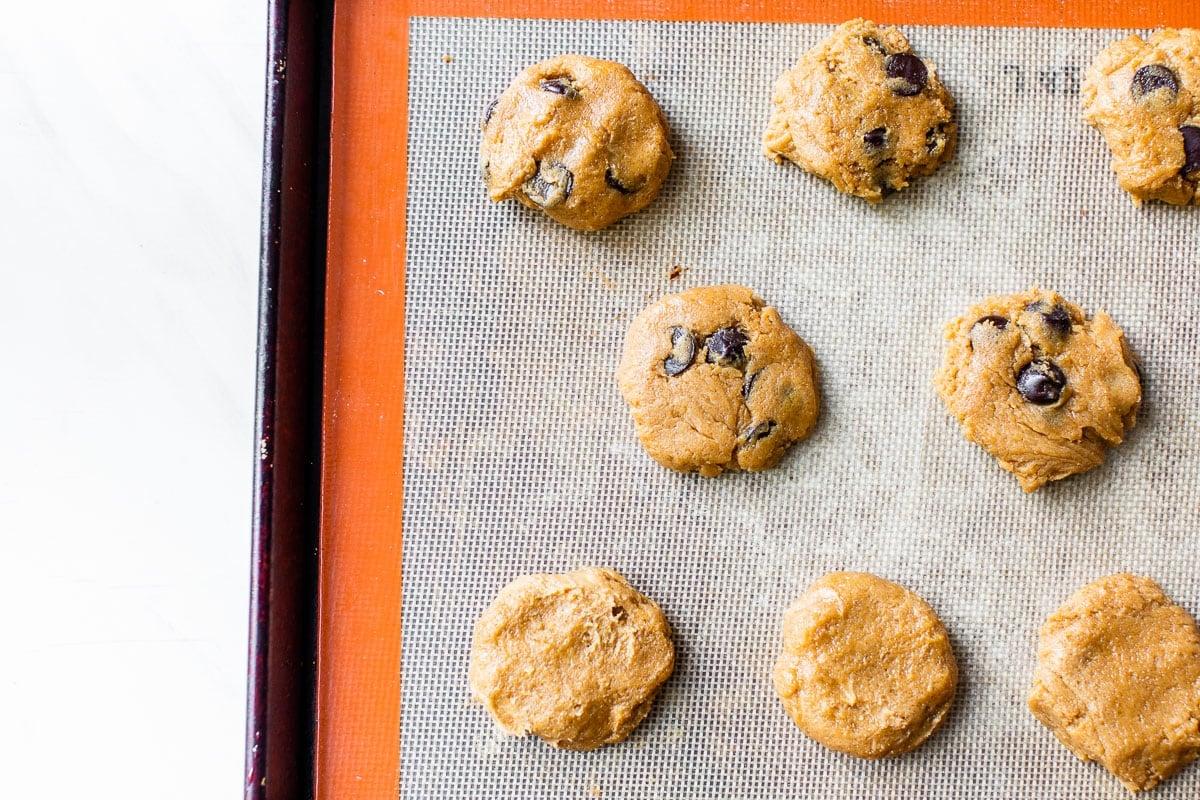 flourless peanut butter cookies on a baking sheet
