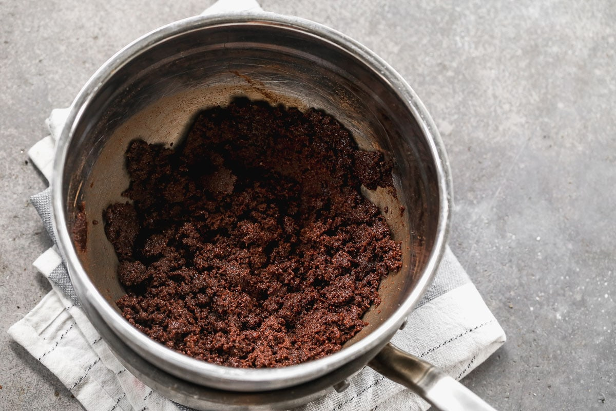 creaming cocoa and butter together with sugar for brownie batter