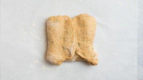 fold rosemary olive oil bread dough