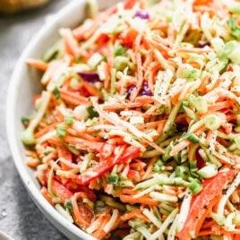 no mayo healthy coleslaw in a bowl