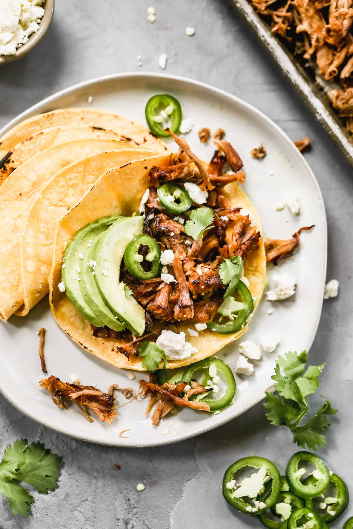 instant pot pork tacos on a plate