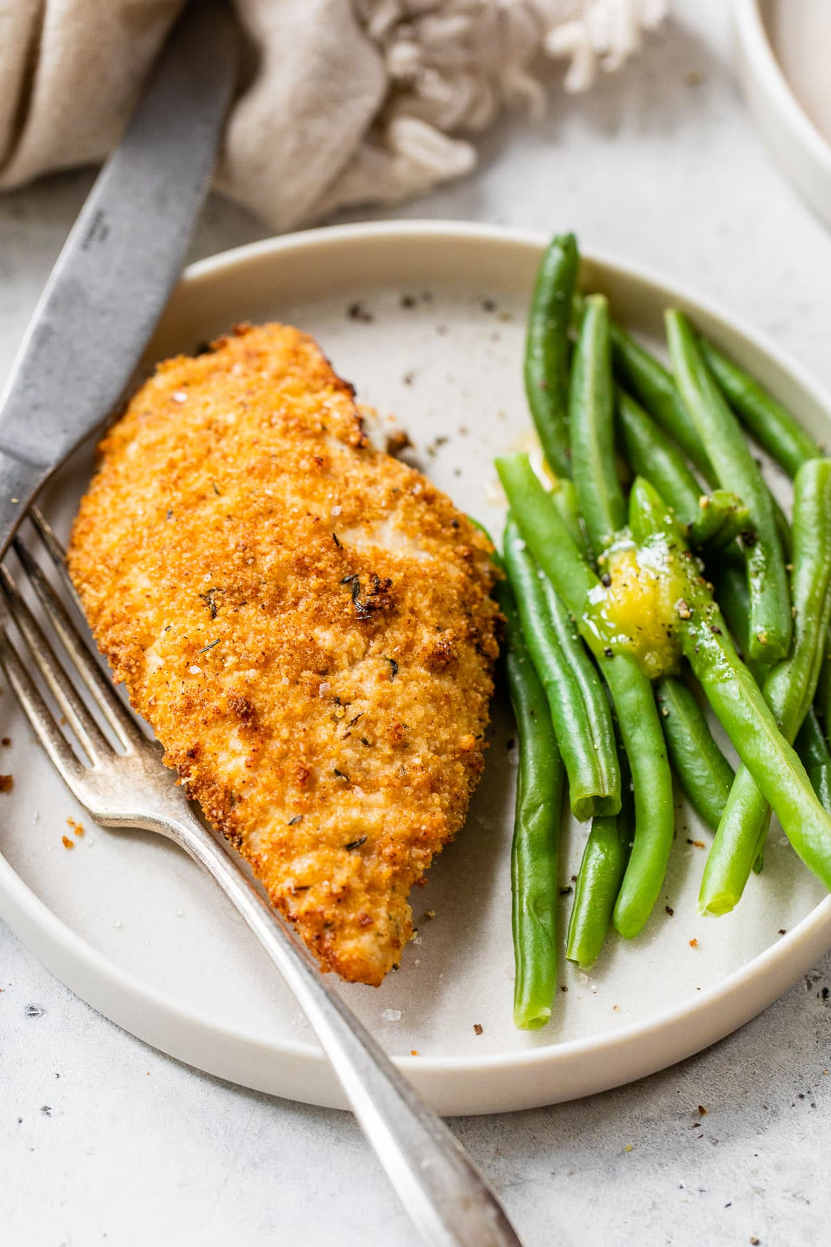 no flour fried chicken breast from the air fryer on a plate