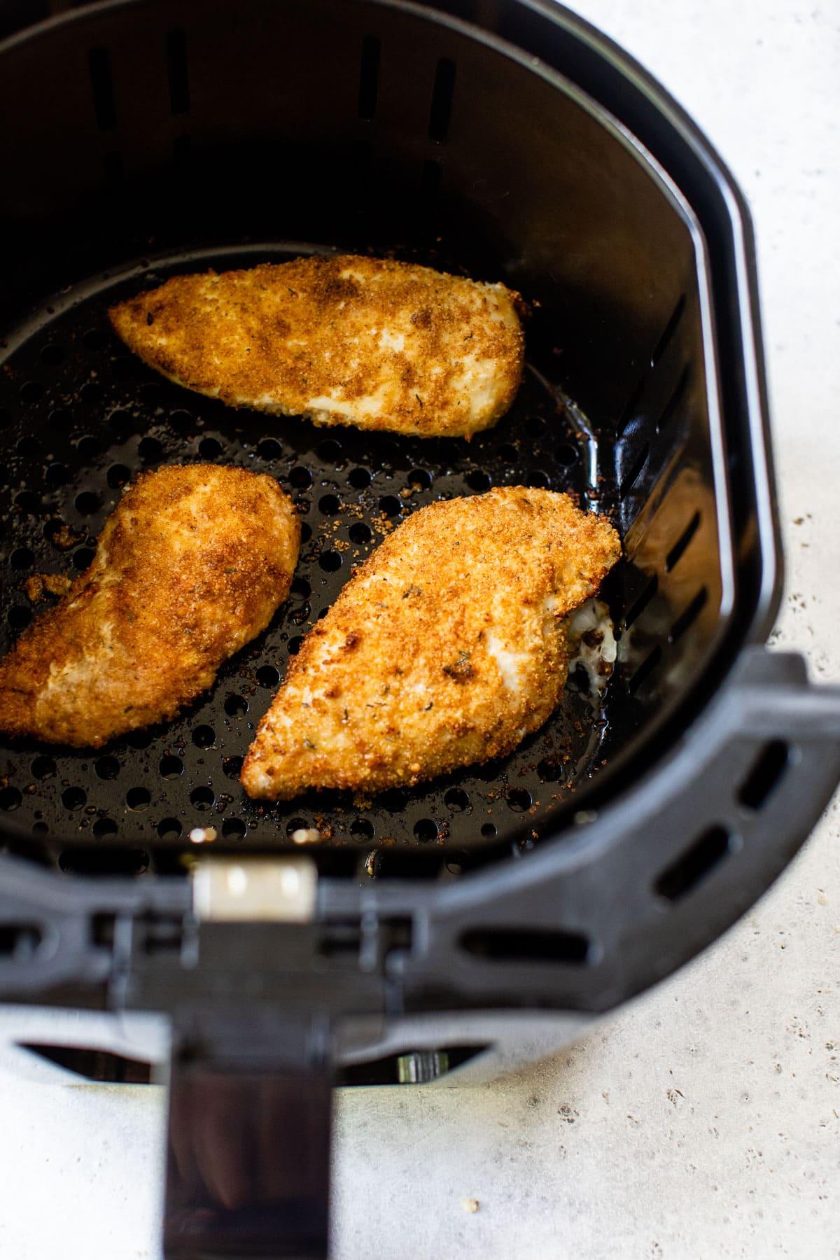 crispy air fryer fried chicken breasts in the air fryer