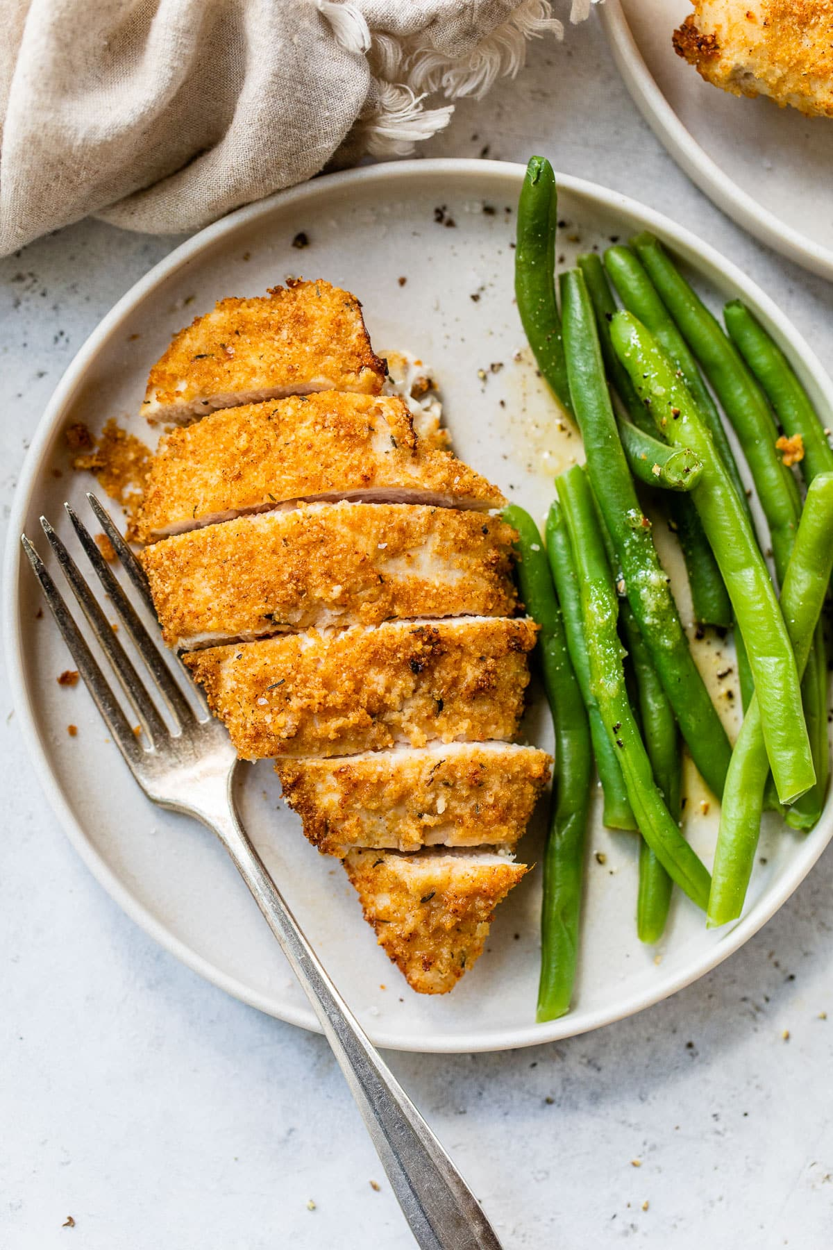 crispy air fryer fried chicken breast with no flour on a plate