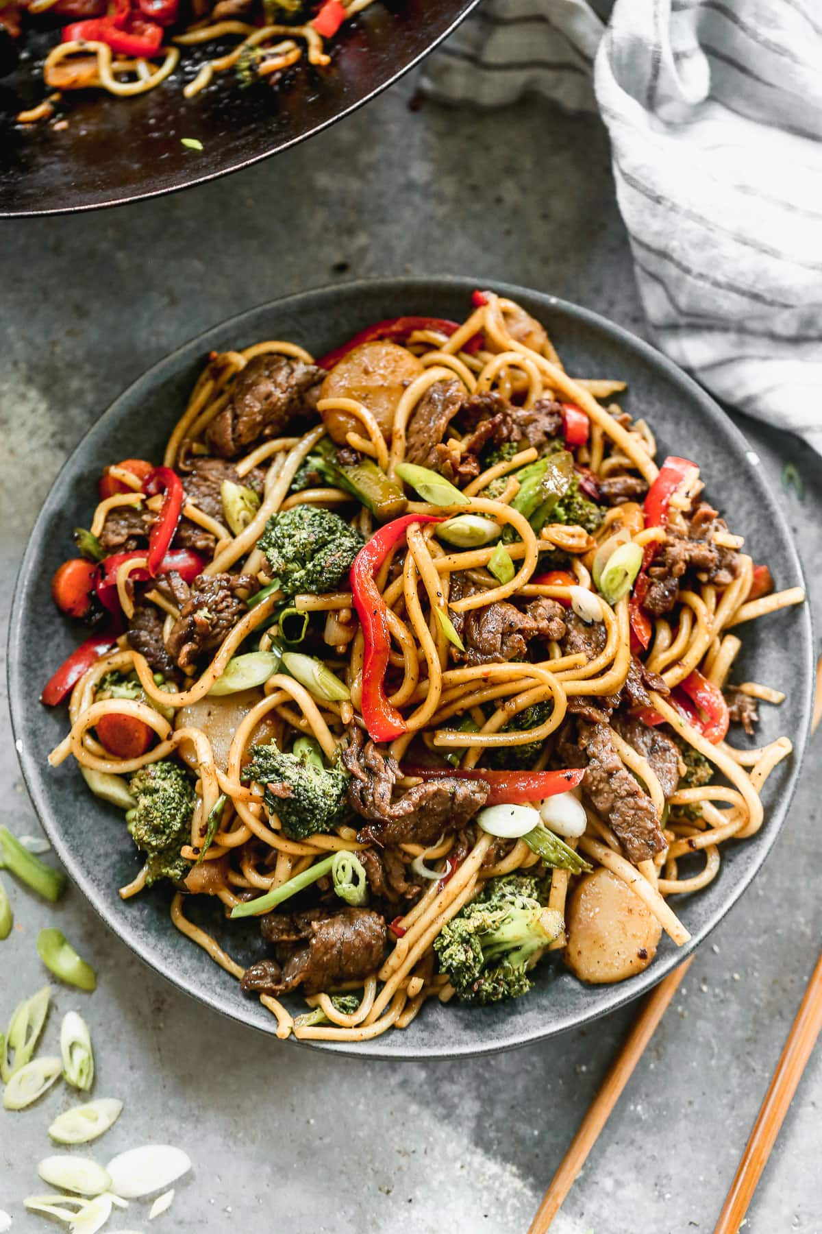 beef lo mein with noodles on a plate