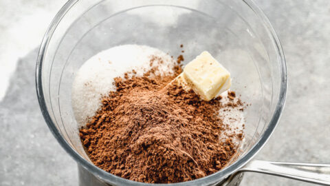 cocoa, sugar, butter and salt in a bowl over simmering water for brownies