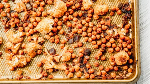 roasted cauliflower and chickpeas on a sheet pan